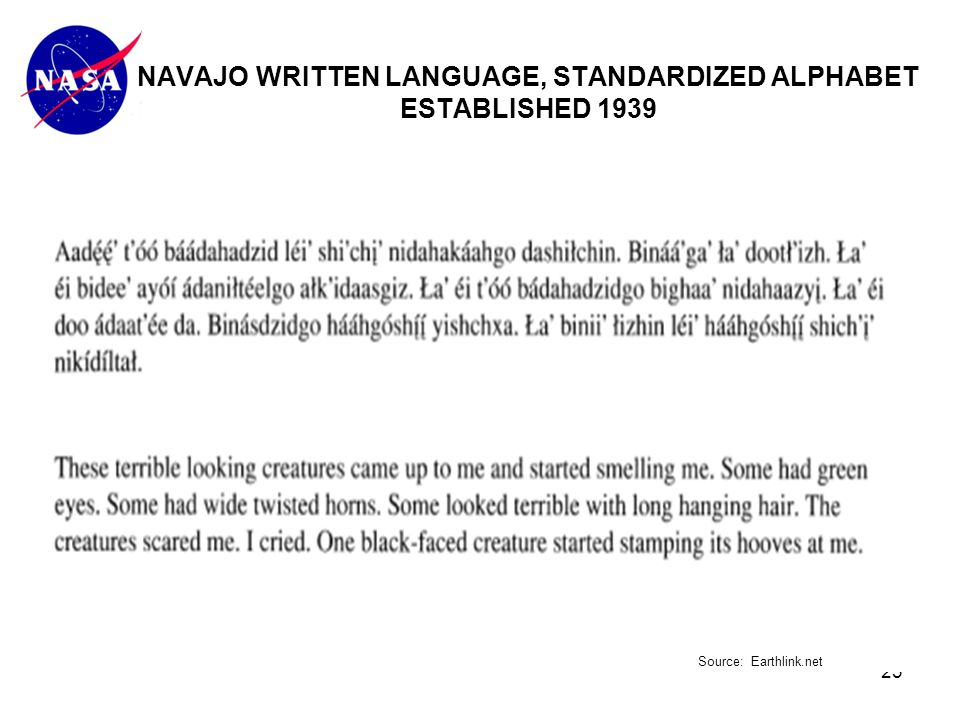 23 NAVAJO WRITTEN LANGUAGE, STANDARDIZED ALPHABET ESTABLISHED 1939 Source: Earthlink.net