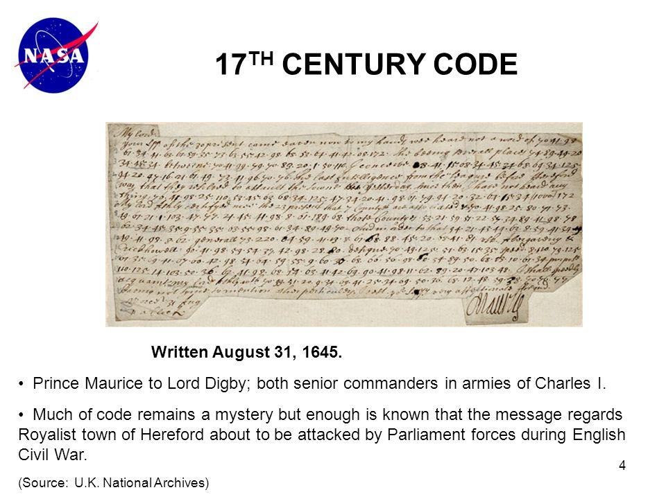 4 17 TH CENTURY CODE Written August 31, 1645.