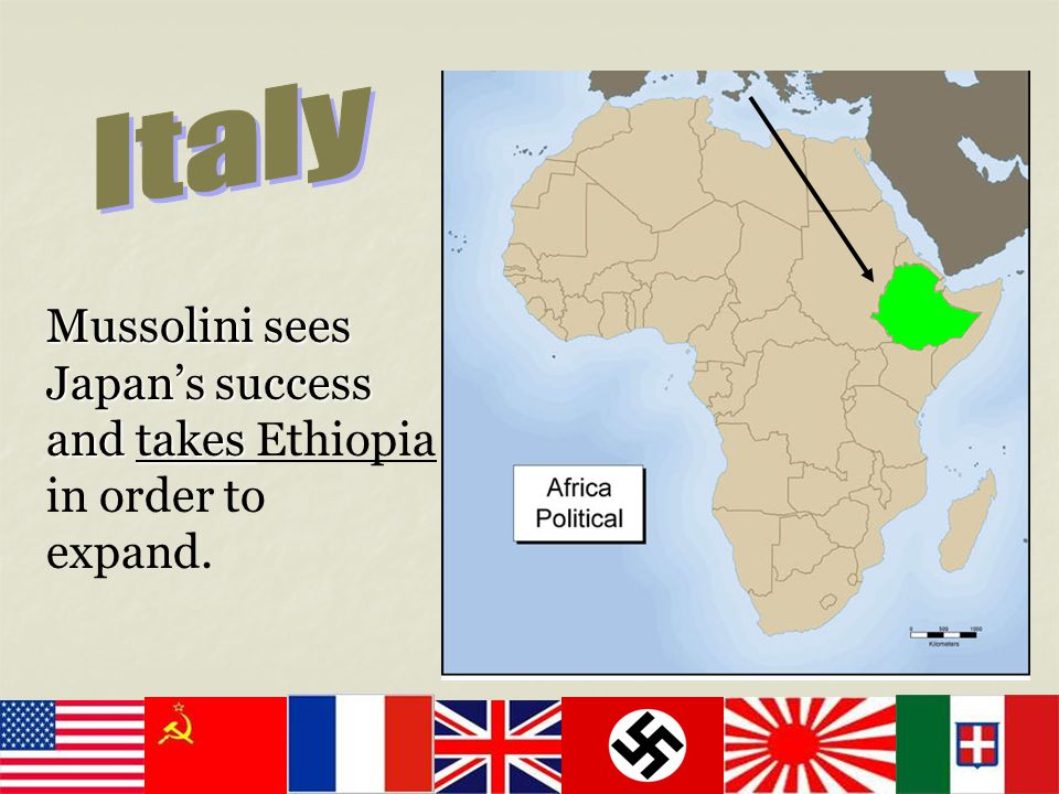 Mussolini sees Japan's success and takes Mussolini sees Japan's success and takes Ethiopia in order to expand.