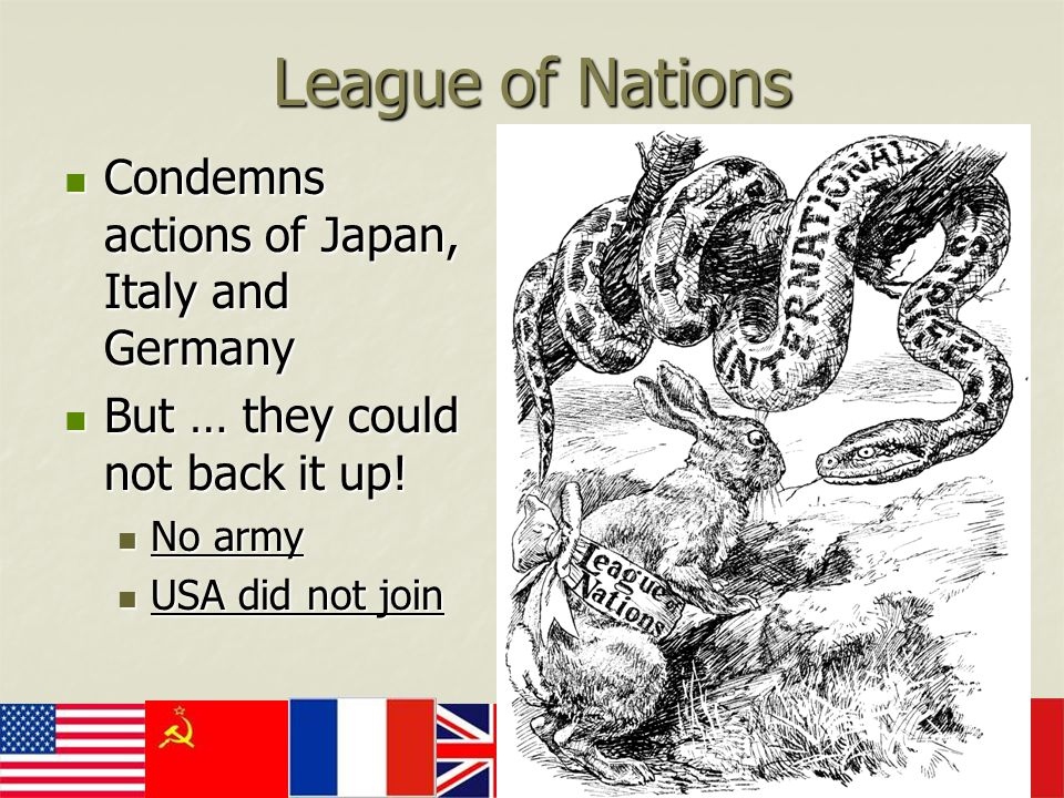 League of Nations Condemns actions of Japan, Italy and Germany Condemns actions of Japan, Italy and Germany But … they could not back it up! But … the