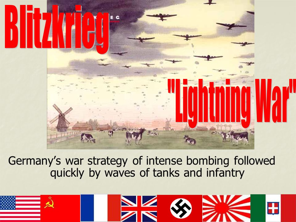 Germany's war strategy of intense bombing followed quickly by waves of tanks and infantry