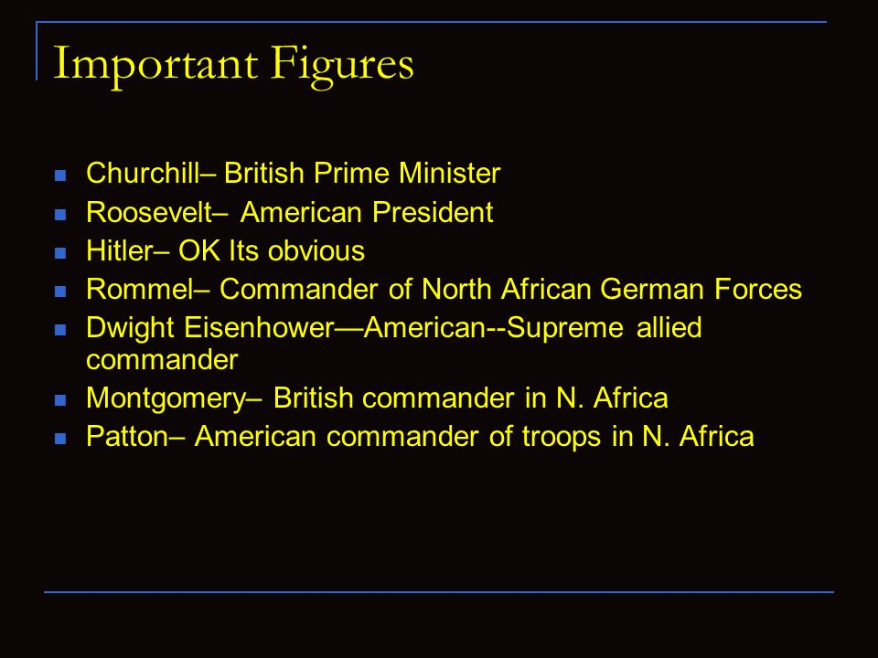Important Figures Churchill– British Prime Minister Roosevelt– American President Hitler– OK Its obvious Rommel– Commander of North African German Forces Dwight Eisenhower—American--Supreme allied commander Montgomery– British commander in N.