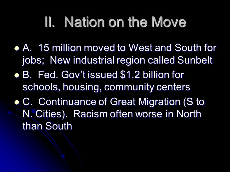 II. Nation on the Move A.