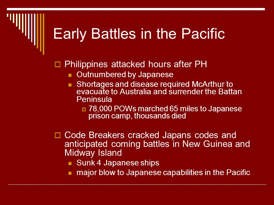 Early Battles in the Pacific  Philippines attacked hours after PH Outnumbered by Japanese Shortages and disease required McArthur to evacuate to Australia and surrender the Battan Peninsula  78,000 POWs marched 65 miles to Japanese prison camp, thousands died  Code Breakers cracked Japans codes and anticipated coming battles in New Guinea and Midway Island Sunk 4 Japanese ships major blow to Japanese capabilities in the Pacific