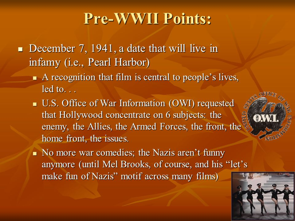 Pre-WWII Points: December 7, 1941, a date that will live in infamy (i.e., Pearl Harbor) December 7, 1941, a date that will live in infamy (i.e., Pearl