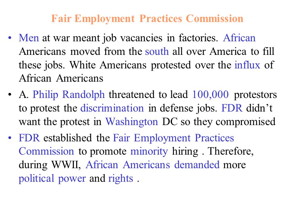 Men at war meant job vacancies in factories. African Americans moved from the south all over America to fill these jobs. White Americans protested ove