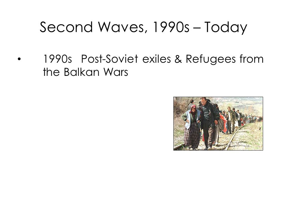Second Waves, 1990s – Today 1990s Post-Soviet exiles & Refugees from the Balkan Wars