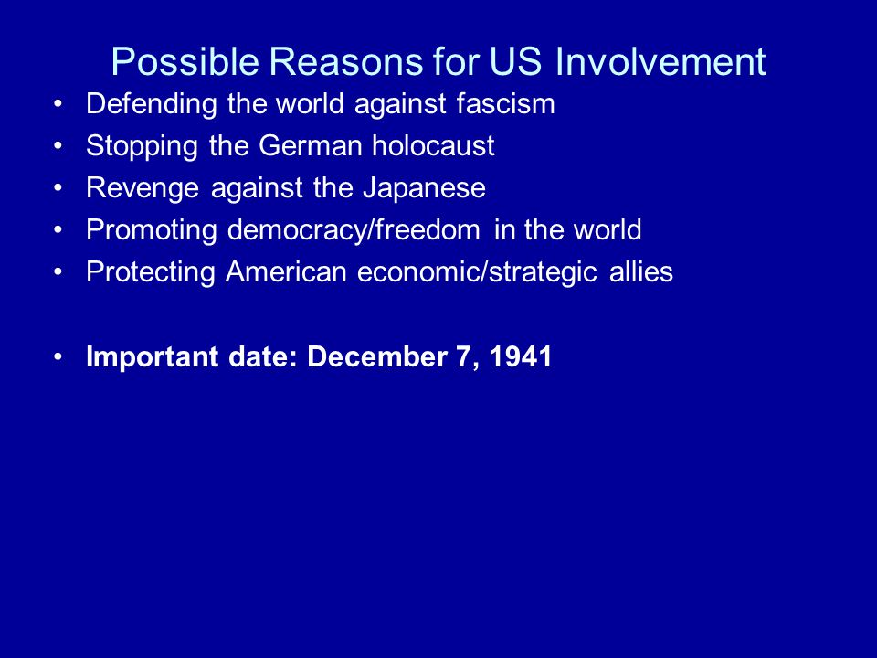 Defending the world against fascism US firmly entrenched in isolationism US fails to act in major conflicts Japan invades Manchuria (1931) Rape of Nanking US begin embargo 1937/cuts trade 1939 Italy invades Ethiopia (1935) Fascist side with the Spanish Nationalists (1936-1937) Guernica Congress passes Neutrality Acts (1935-1937) Did not include oil/steel Europeans rely on policy of appeasement to stop Hitler Austria (1938) Czechoslovakia (1938-9) Poland (1939)