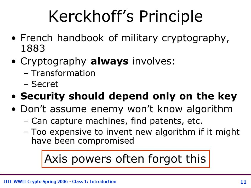 11 JILL WWII Crypto Spring 2006 - Class 1: Introduction Kerckhoff's Principle French handbook of military cryptography, 1883 Cryptography always involves: –Transformation –Secret Security should depend only on the key Don't assume enemy won't know algorithm –Can capture machines, find patents, etc.
