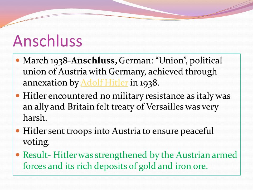 """Anschluss March 1938-Anschluss, German: """"Union"""", political union of Austria with Germany, achieved through annexation by Adolf Hitler in 1938.Adolf Hi"""