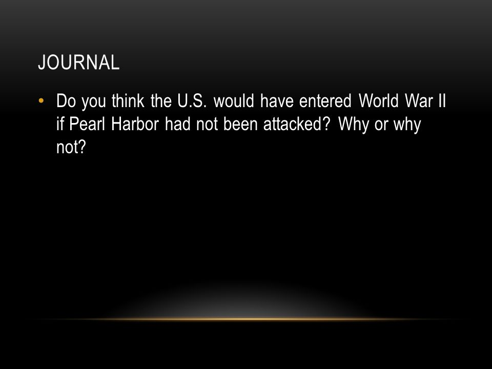 JOURNAL Do you think the U.S.