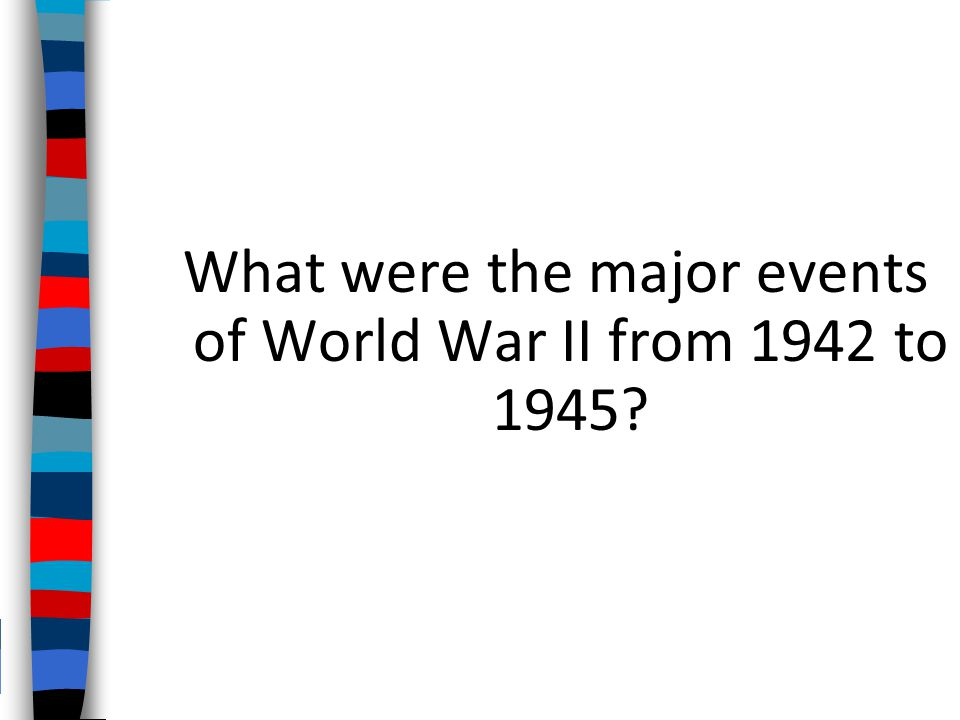 What were the major events of World War II from 1942 to 1945