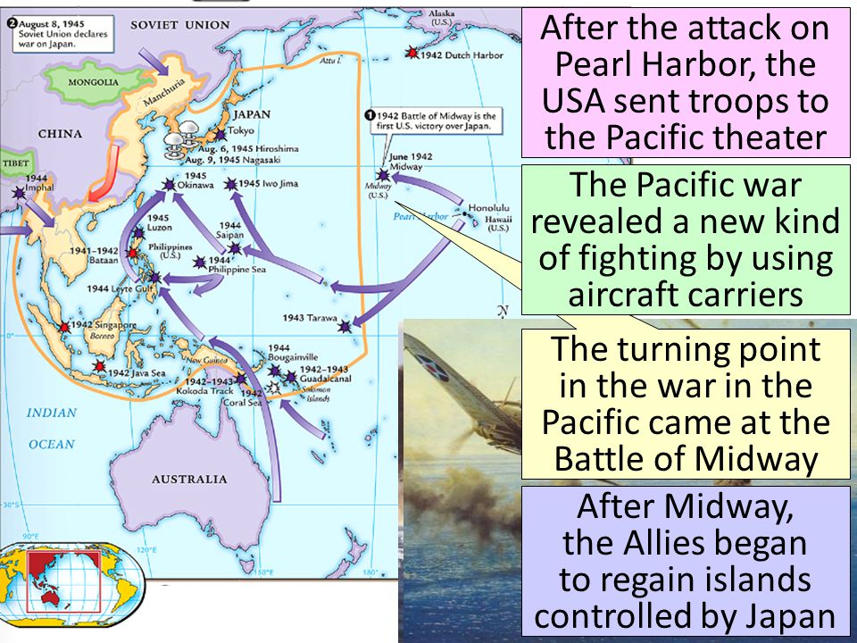 After the attack on Pearl Harbor, the USA sent troops to the Pacific theater The turning point in the war in the Pacific came at the Battle of Midway After Midway, the Allies began to regain islands controlled by Japan The Pacific war revealed a new kind of fighting by using aircraft carriers