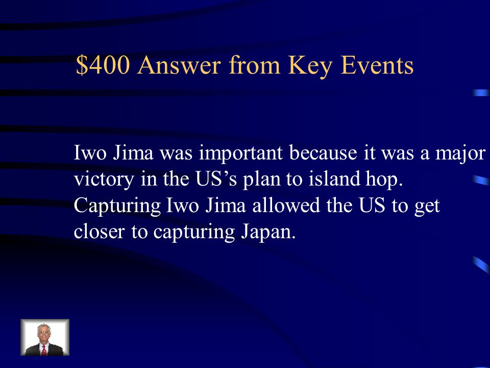 $400 Question from Key Events Why was the battle of Iwo Jima Important