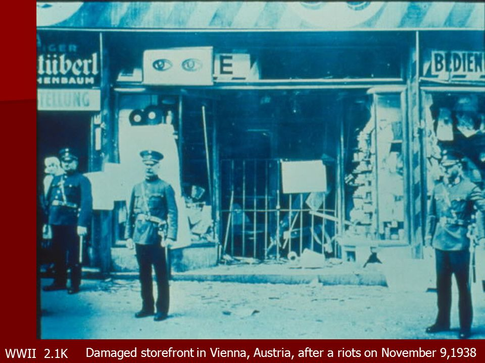WWII 2.1K Damaged storefront in Vienna, Austria, after a riots on November 9,1938