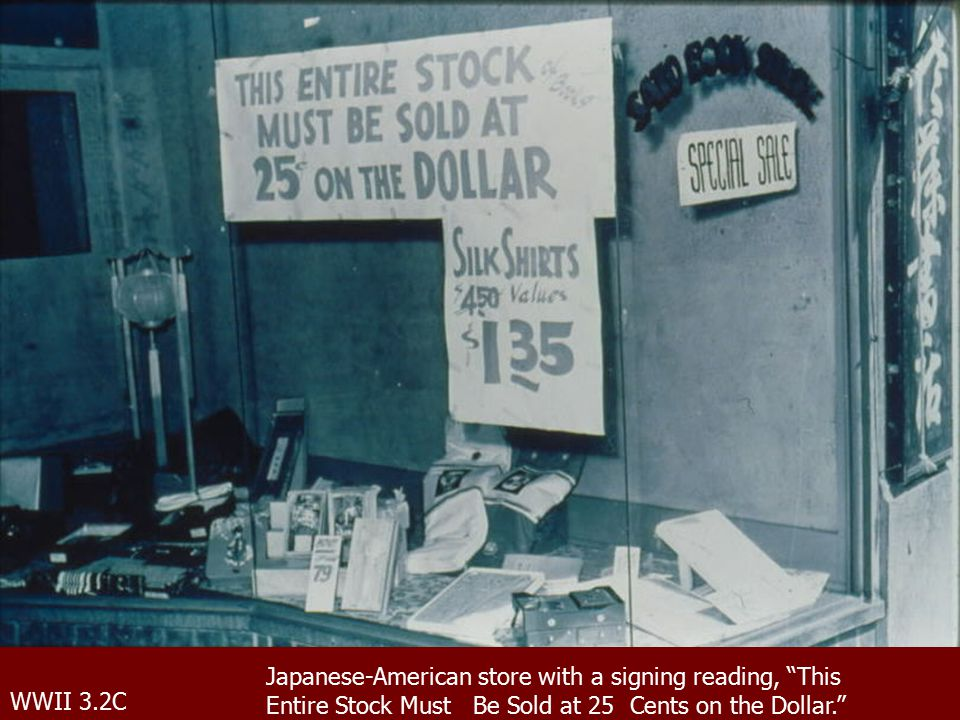 WWII 3.2C Japanese-American store with a signing reading, This Entire Stock Must Be Sold at 25 Cents on the Dollar.