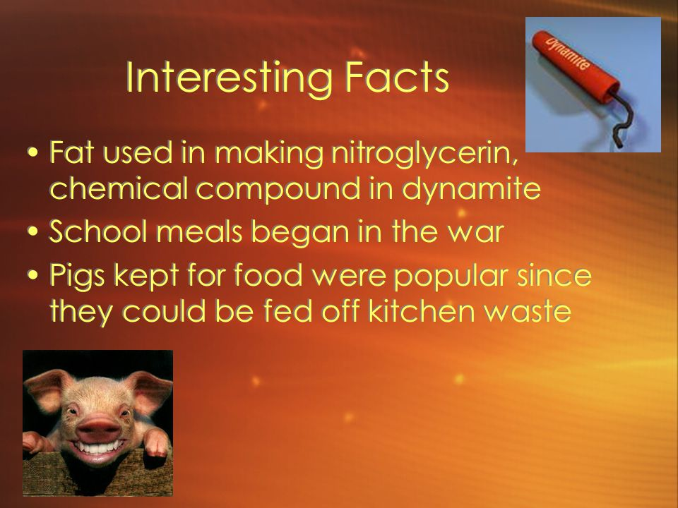 Interesting Facts Fat used in making nitroglycerin, chemical compound in dynamite School meals began in the war Pigs kept for food were popular since they could be fed off kitchen waste Fat used in making nitroglycerin, chemical compound in dynamite School meals began in the war Pigs kept for food were popular since they could be fed off kitchen waste