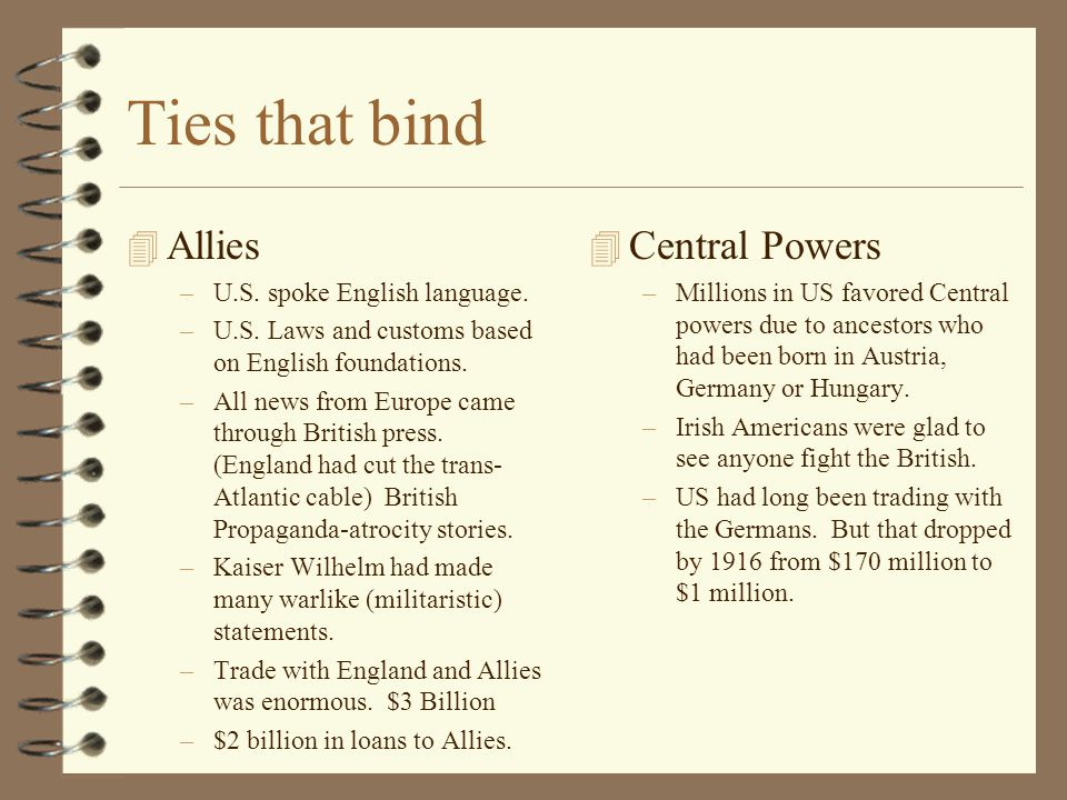 Ties that bind 4 Allies –U.S. spoke English language. –U.S. Laws and customs based on English foundations. –All news from Europe came through British