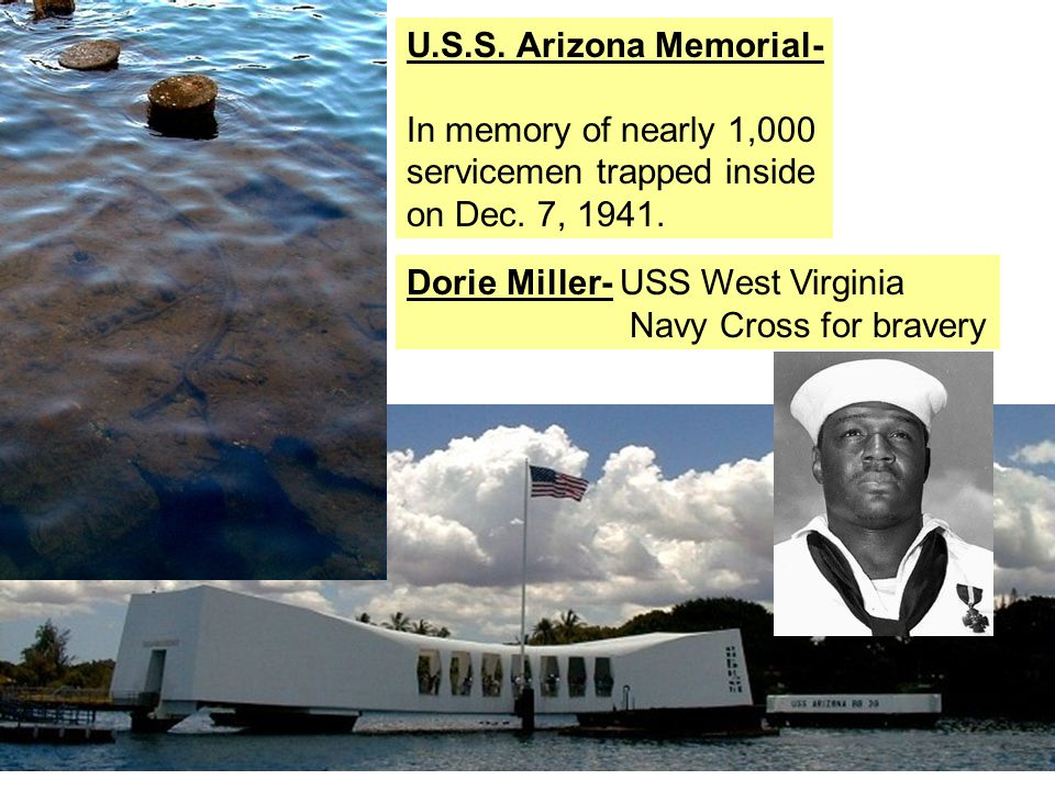 U.S.S. Arizona Memorial- In memory of nearly 1,000 servicemen trapped inside on Dec.