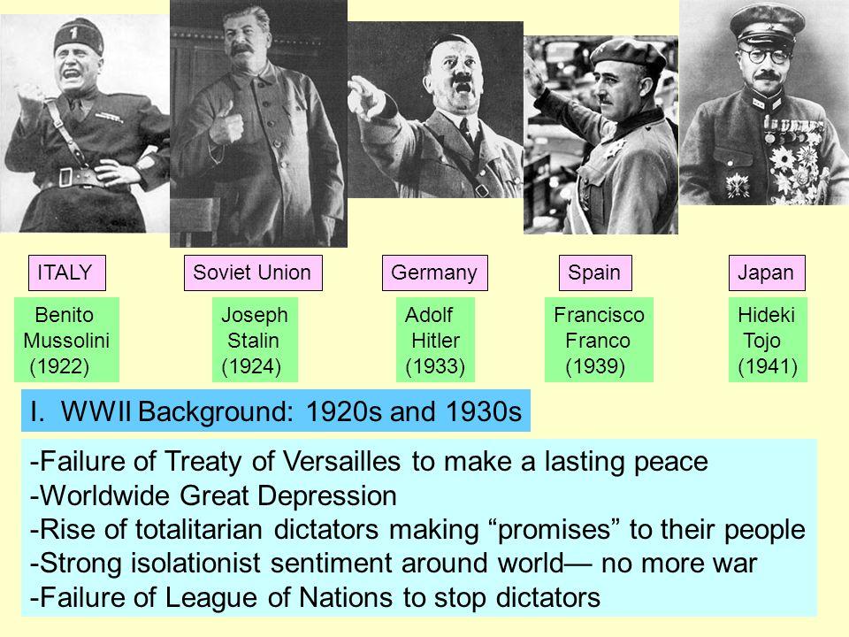 Benito Mussolini (1922) Adolf Hitler (1933) Joseph Stalin (1924) Francisco Franco (1939) Hideki Tojo (1941) I.