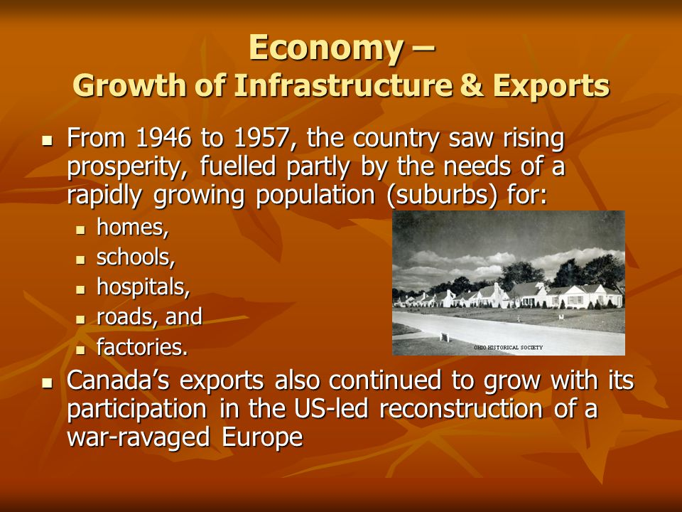 Economy – Growth of Infrastructure & Exports From 1946 to 1957, the country saw rising prosperity, fuelled partly by the needs of a rapidly growing population (suburbs) for: From 1946 to 1957, the country saw rising prosperity, fuelled partly by the needs of a rapidly growing population (suburbs) for: homes, homes, schools, schools, hospitals, hospitals, roads, and roads, and factories.