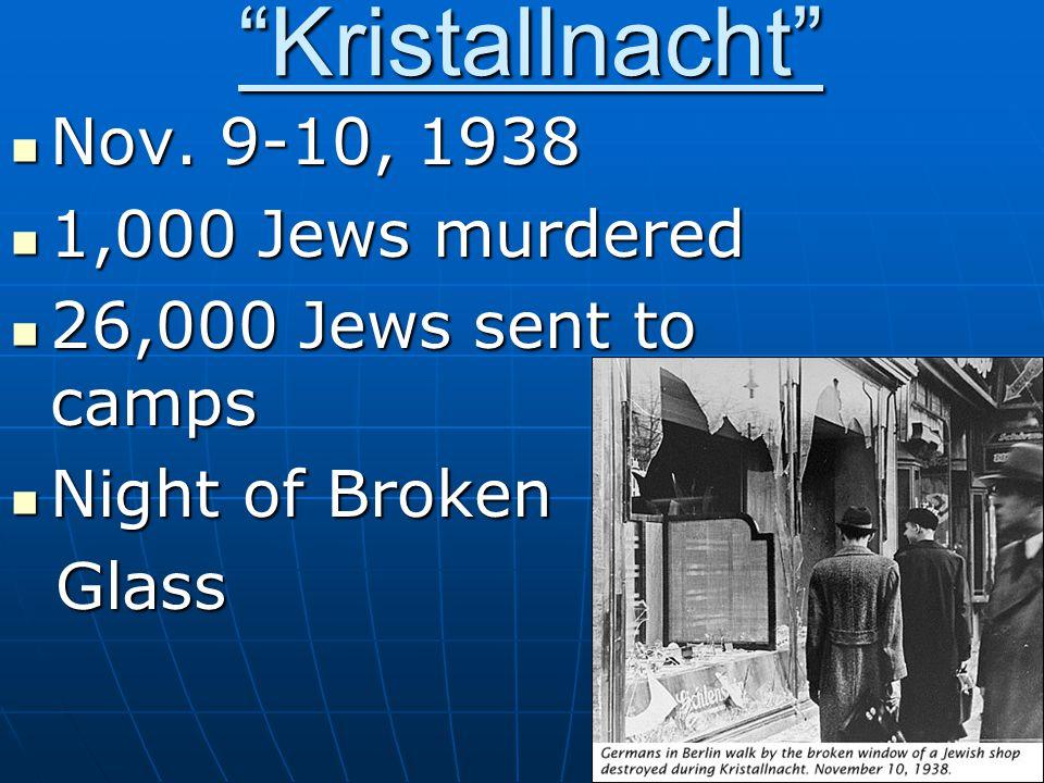 Kristallnacht Nov. 9-10, 1938 Nov.