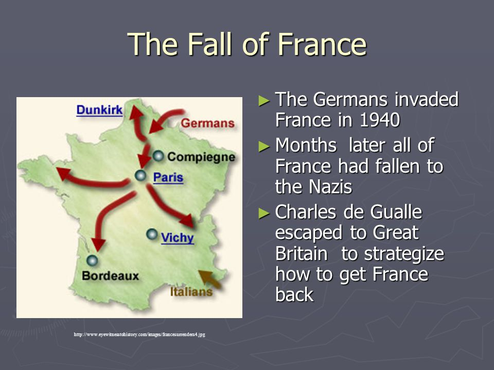 The Fall of France ► The Germans invaded France in 1940 ► Months later all of France had fallen to the Nazis ► Charles de Gualle escaped to Great Brit