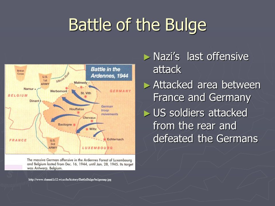 Battle of the Bulge ► Nazi's last offensive attack ► Attacked area between France and Germany ► US soldiers attacked from the rear and defeated the Ge