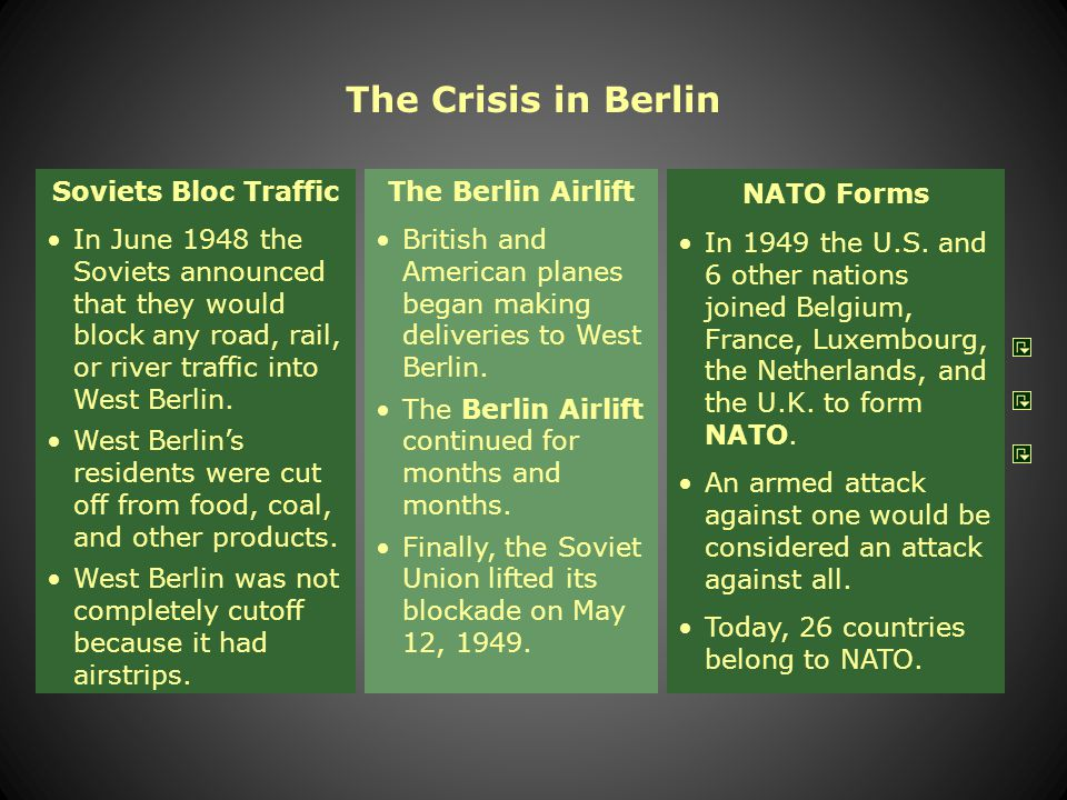 Crisis in Berlin With the start of the Cold War, it became clear that the Soviets planned to keep their German zone under Communist control. The Briti