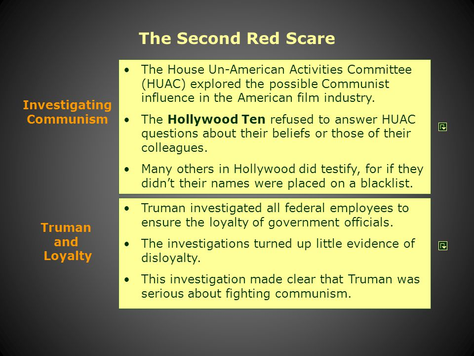 The Second Red Scare The House Un-American Activities Committee investigated the full range of radical groups in the United States, including Fascists and Communists.