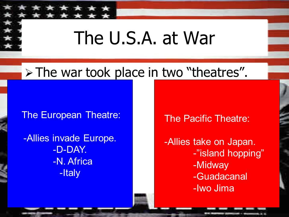 The U.S.A. at War  The war took place in two theatres .