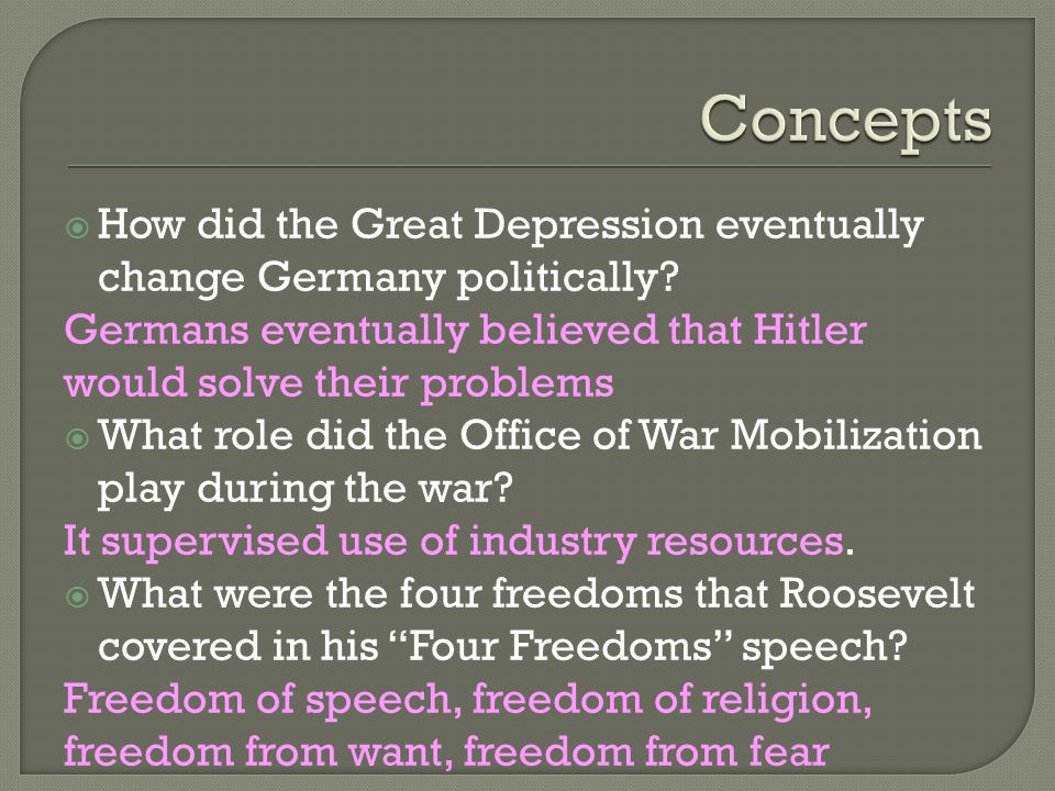  How did the Great Depression eventually change Germany politically.