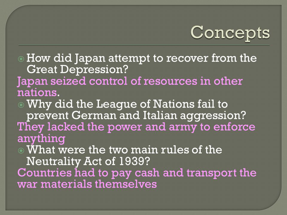  How did Japan attempt to recover from the Great Depression.