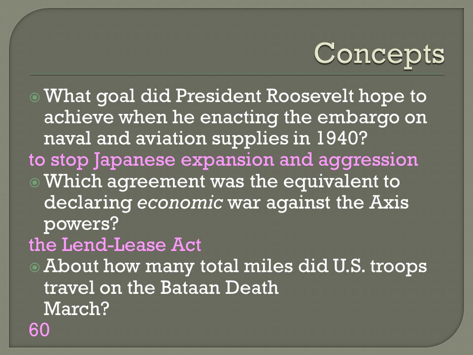  What goal did President Roosevelt hope to achieve when he enacting the embargo on naval and aviation supplies in 1940.