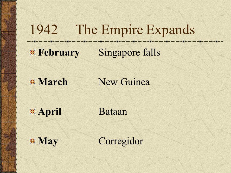 1942The Empire Expands FebruarySingapore falls MarchNew Guinea AprilBataan MayCorregidor