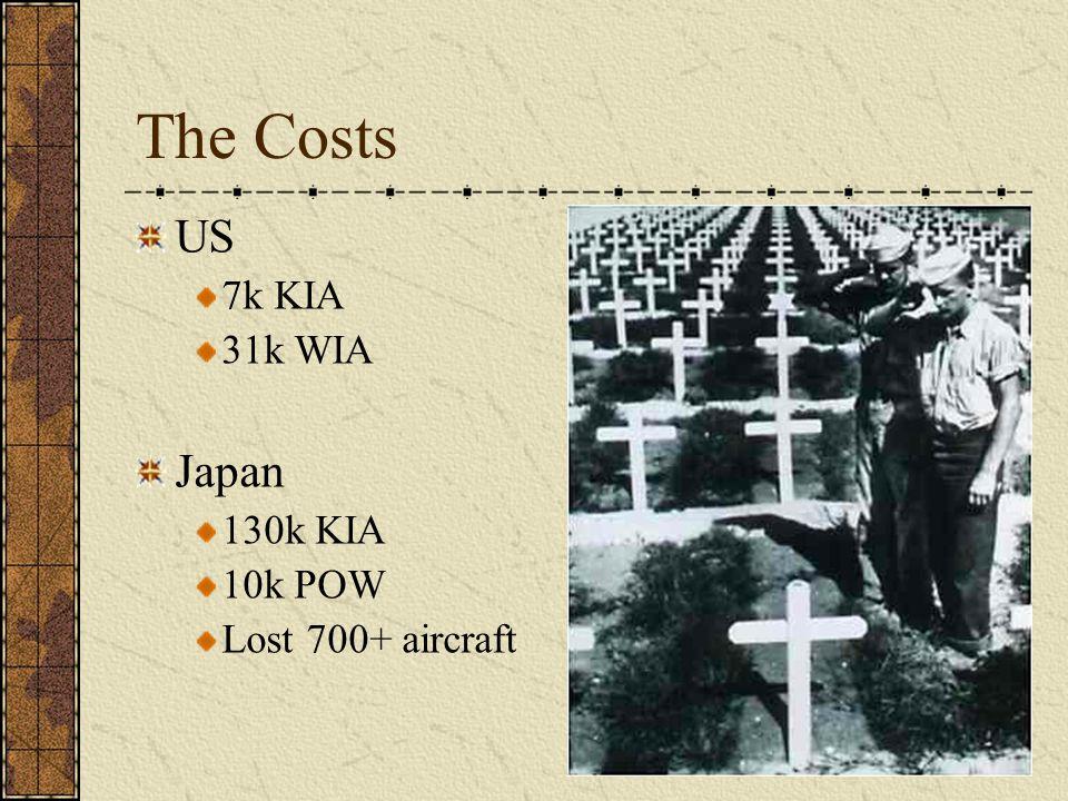 The Costs US 7k KIA 31k WIA Japan 130k KIA 10k POW Lost 700+ aircraft