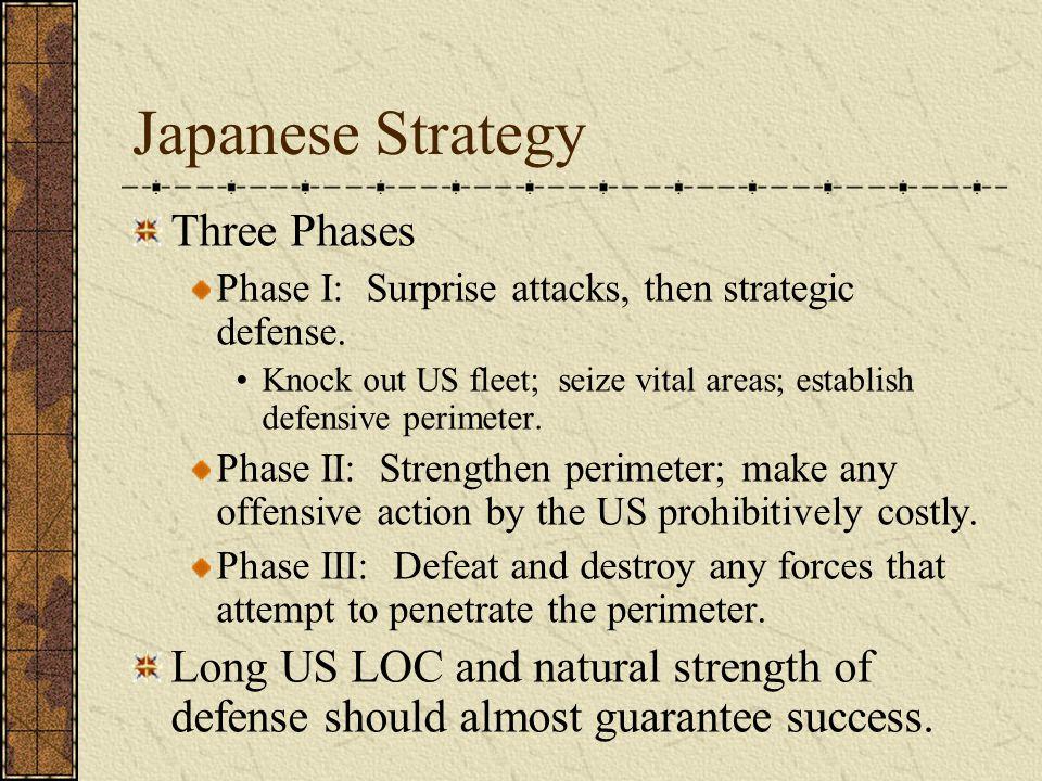 Japanese Strategy Three Phases Phase I: Surprise attacks, then strategic defense. Knock out US fleet; seize vital areas; establish defensive perimeter