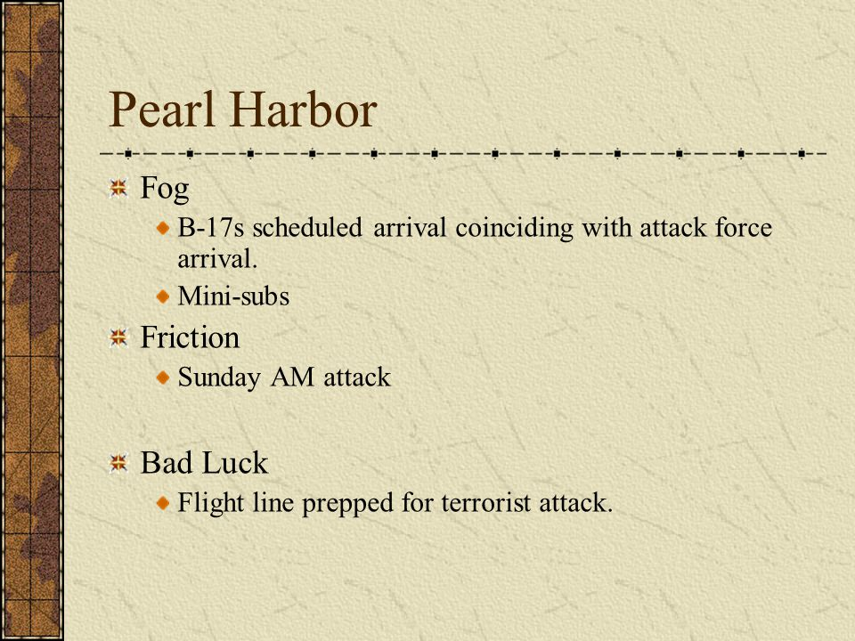 Pearl Harbor Fog B-17s scheduled arrival coinciding with attack force arrival. Mini-subs Friction Sunday AM attack Bad Luck Flight line prepped for te