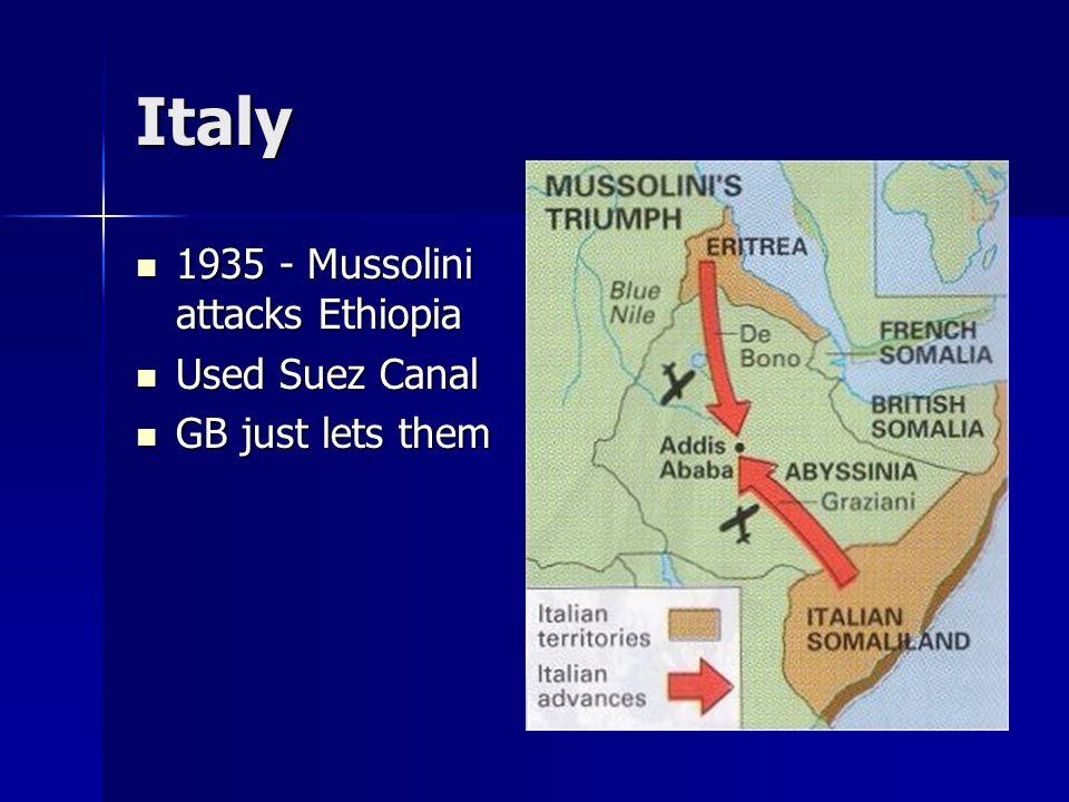 Italy 1935 - Mussolini attacks Ethiopia 1935 - Mussolini attacks Ethiopia Used Suez Canal Used Suez Canal GB just lets them GB just lets them