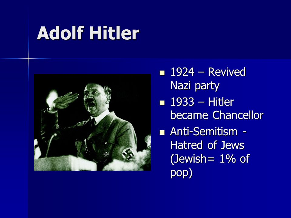 Adolf Hitler 1924 – Revived Nazi party 1924 – Revived Nazi party 1933 – Hitler became Chancellor 1933 – Hitler became Chancellor Anti-Semitism - Hatre