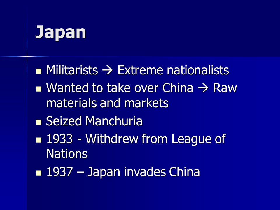 Japan Militarists  Extreme nationalists Militarists  Extreme nationalists Wanted to take over China  Raw materials and markets Wanted to take over