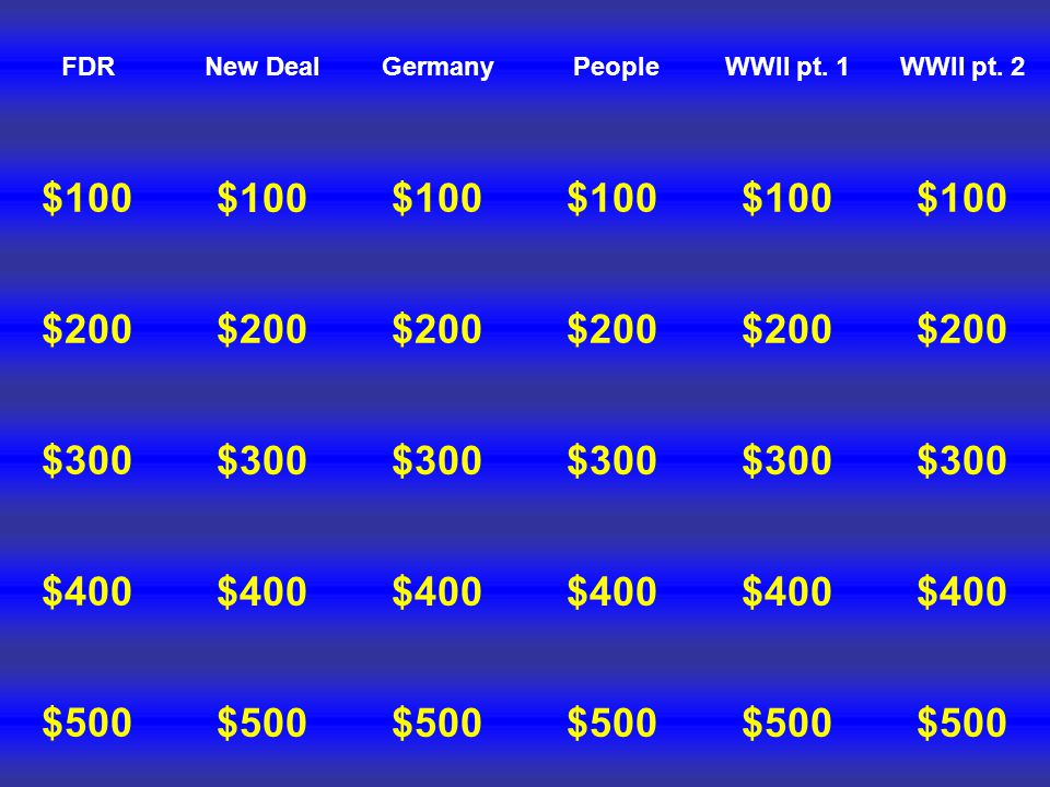 FDR $100 $200 $300 $500 $400 New Deal $100 $200 $300 $500 $400 Germany $100 $200 $300 $500 $400 People $100 $200 $300 $500 $400 WWII pt.