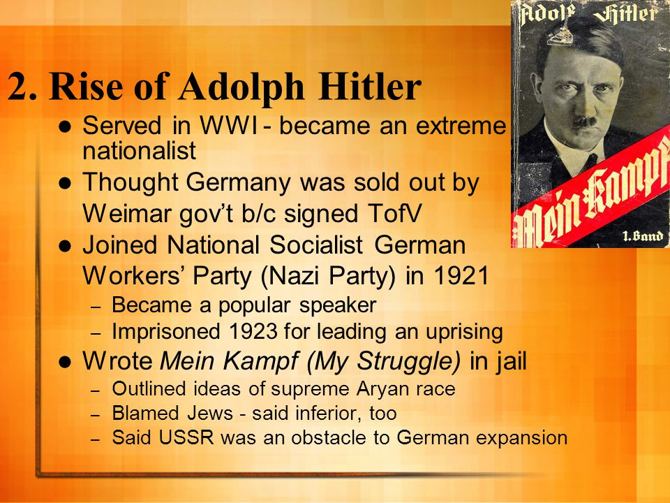 Hitler Becomes a Dictator After prison, Hitler worked on increasing Nazi membership - gaining seats in the legislature (Reichstag) 1932 - Nazis were largest political party - chose Hitler to head the gov't Hitler increases his power 1933 - Reichstag fire blamed on communists, Hitler suspends constitutional rights 1934 Hitler declares himself the Fuhrer (leader) and heads a fascist gov't (authoritarian, nationalistic, conservative)