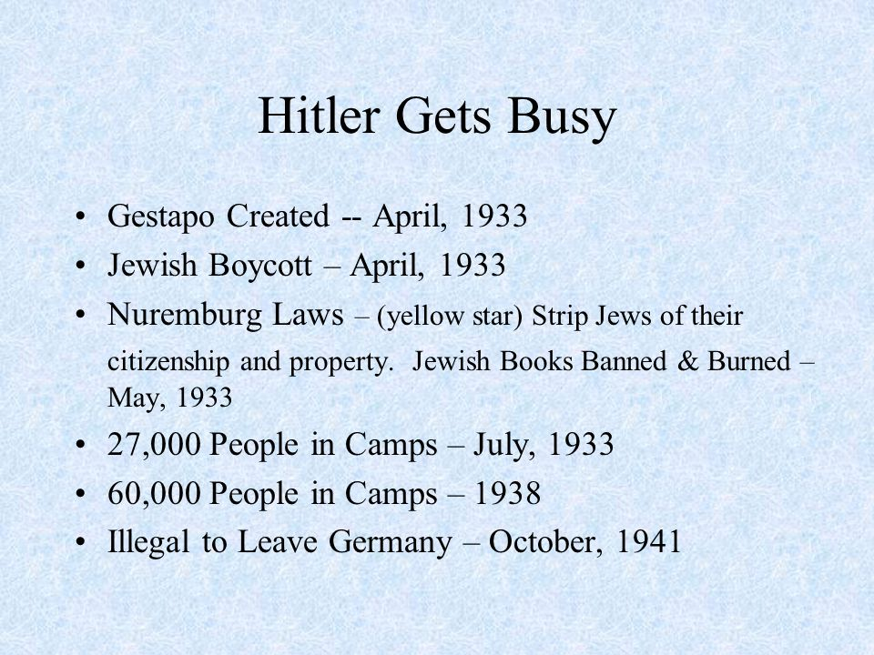 Hitler Gets Busy Gestapo Created -- April, 1933 Jewish Boycott – April, 1933 Nuremburg Laws – (yellow star) Strip Jews of their citizenship and property.