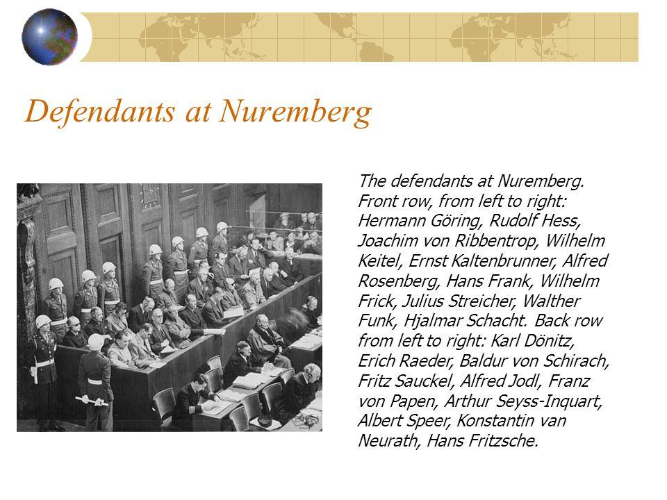 Defendants at Nuremberg The defendants at Nuremberg.
