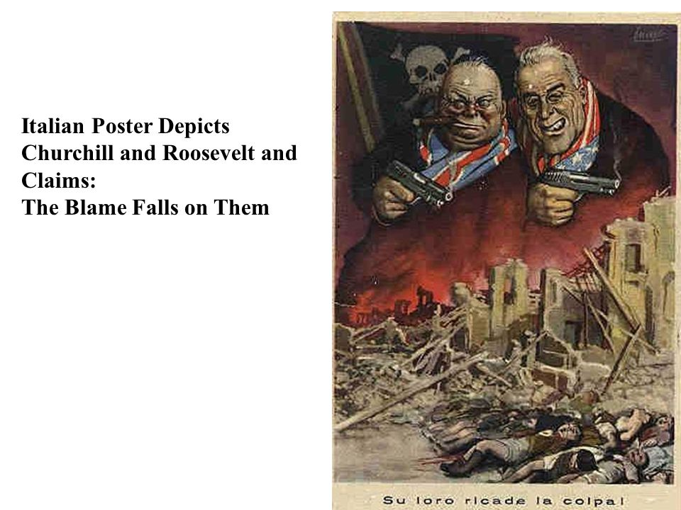 Italian Poster Depicts Churchill and Roosevelt and Claims: The Blame Falls on Them