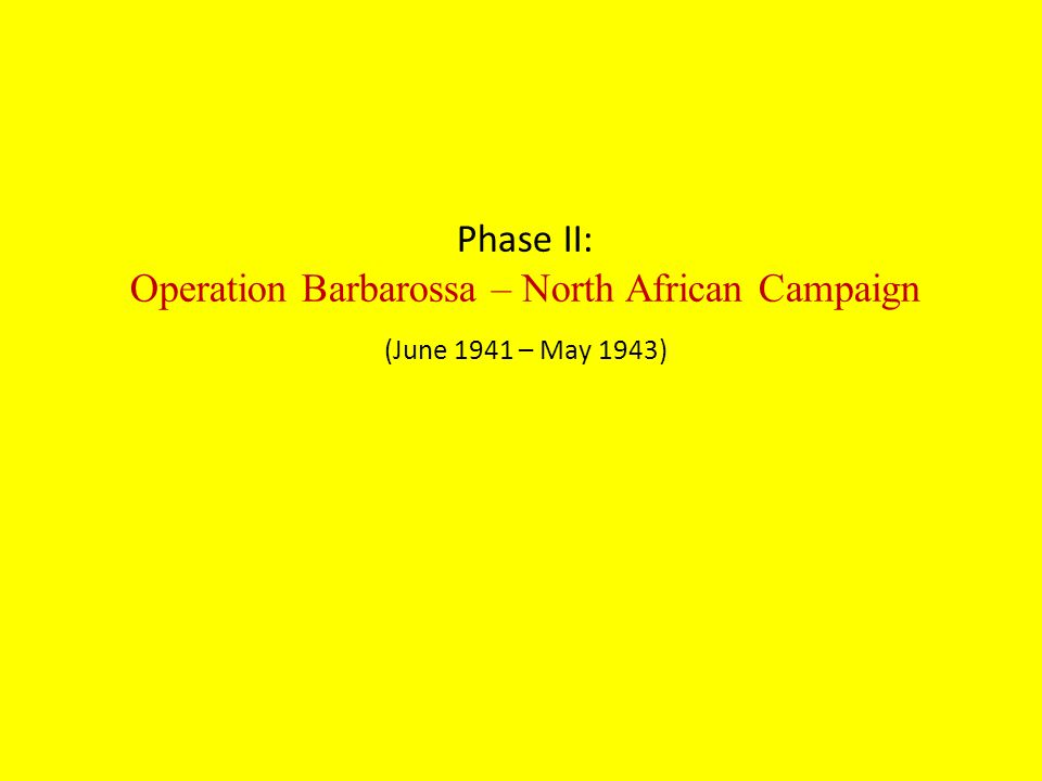 Phase II: Operation Barbarossa – North African Campaign (June 1941 – May 1943)