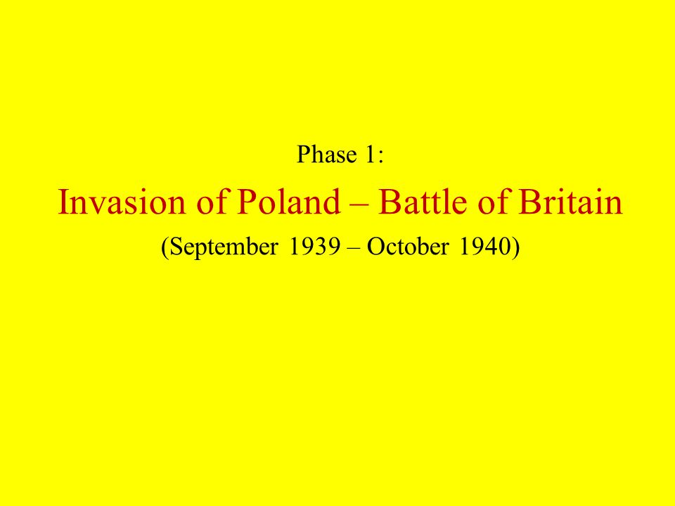 Phase 1: Invasion of Poland – Battle of Britain (September 1939 – October 1940)