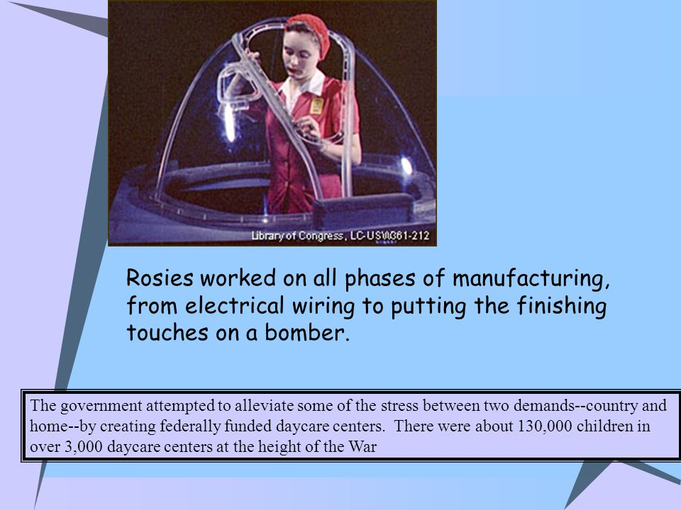 Rosies worked on all phases of manufacturing, from electrical wiring to putting the finishing touches on a bomber.