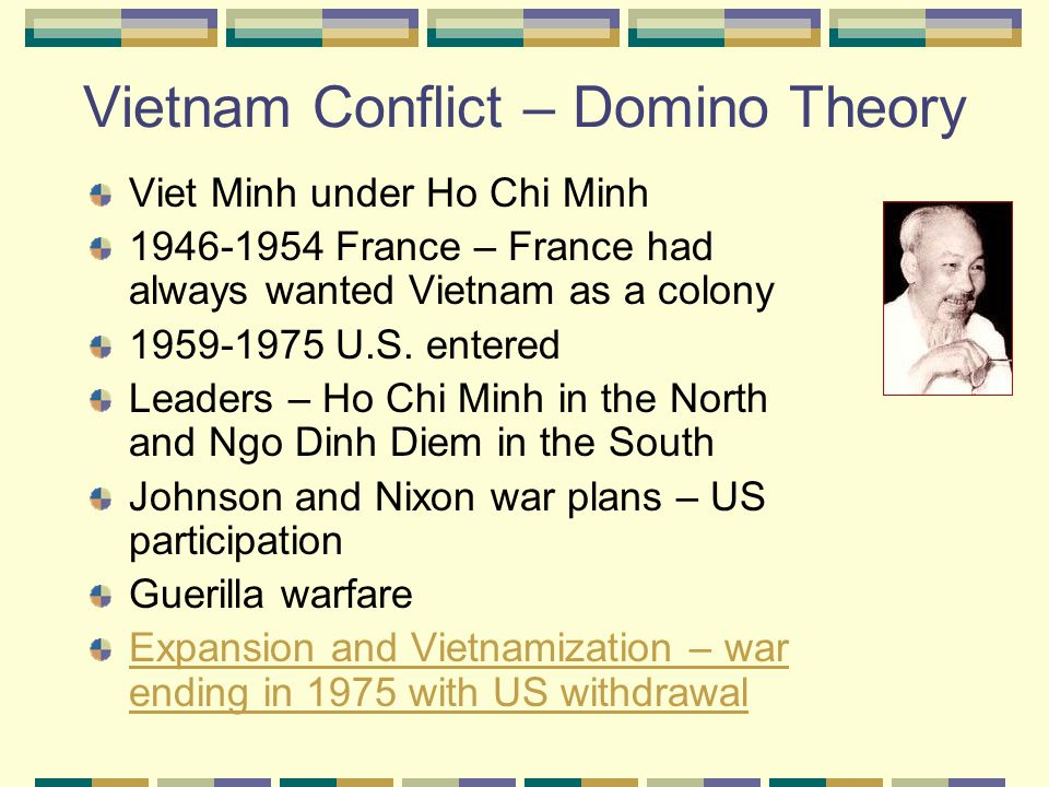 Vietnam Conflict – Domino Theory Viet Minh under Ho Chi Minh 1946-1954 France – France had always wanted Vietnam as a colony 1959-1975 U.S.